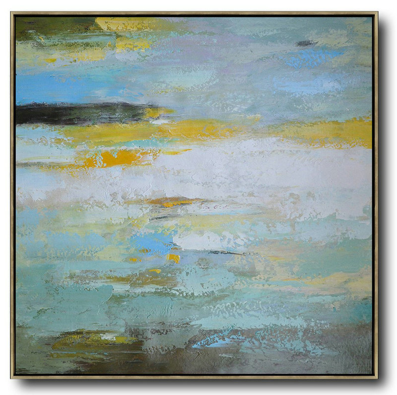 Huge Abstract Painting On Canvas,Oversized Contemporary Art,Xl Large Canvas Art,White,Green,Yellow.etc