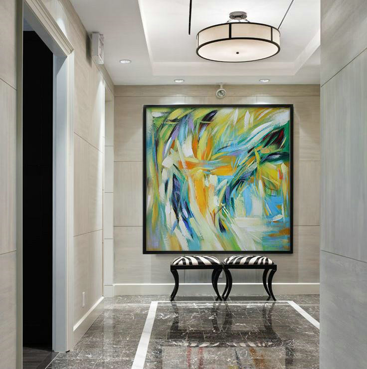 Abstract Painting Extra Large Canvas Art,Oversized Contemporary Art,Large Wall Canvas,Yelloe,Green,Blue,White.etc