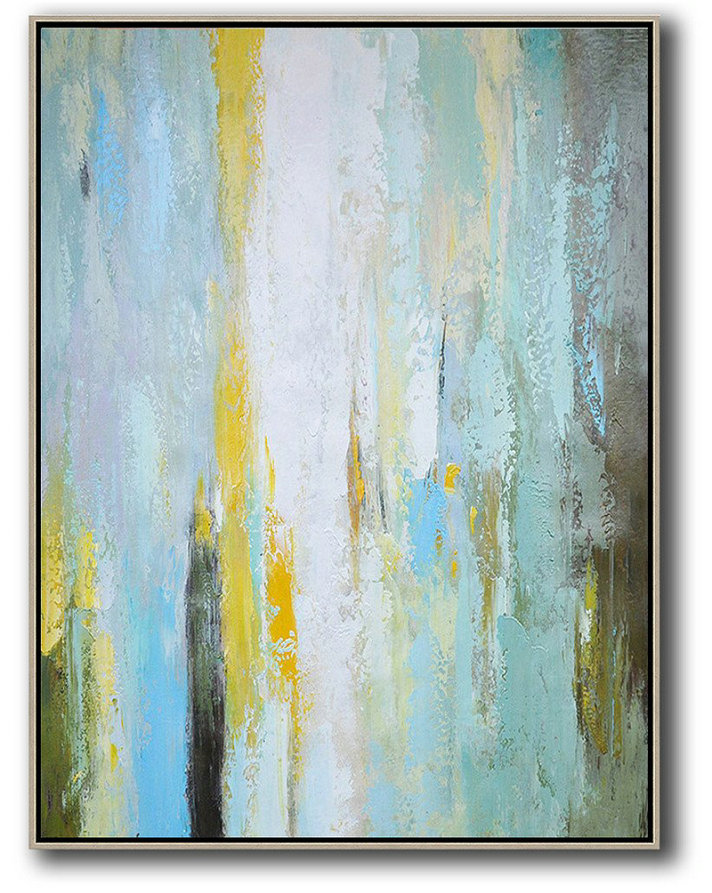 Hand Made Abstract Art,Vertical Palette Knife Contemporary Art,Modern Abstract Wall Art,Blue,White,Yellow,.etc