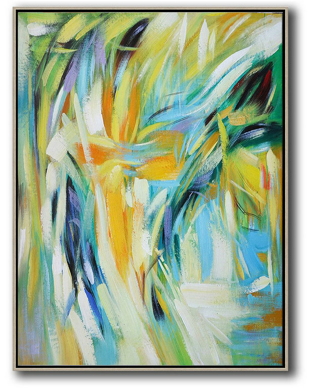 Extra Large Acrylic Painting On Canvas,Vertical Palette Knife Contemporary Art,Hand Paint Abstract Painting,Green,White,Yellow,Blue.etc