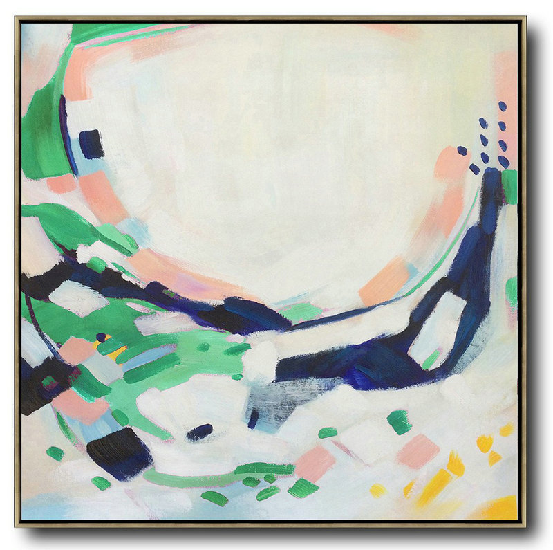 Handmade Large Contemporary Art,Oversized Contemporary Art,Abstract Painting On Canvas,White,Pink,Green.etc