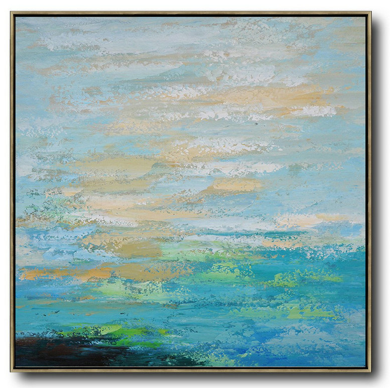 Handmade Large Contemporary Art,Oversized Contemporary Art,Large Paintings For Living Room,Blue,Maize-Yellow,Green.etc