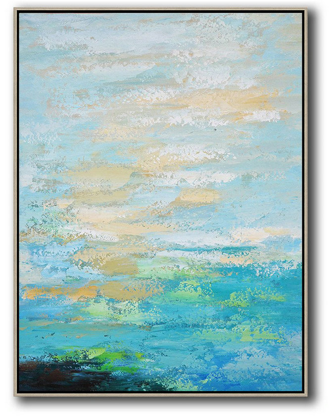 Extra Large Painting,Vertical Palette Knife Contemporary Art,Custom Canvas Wall Art,Blue,Yellow,White.etc