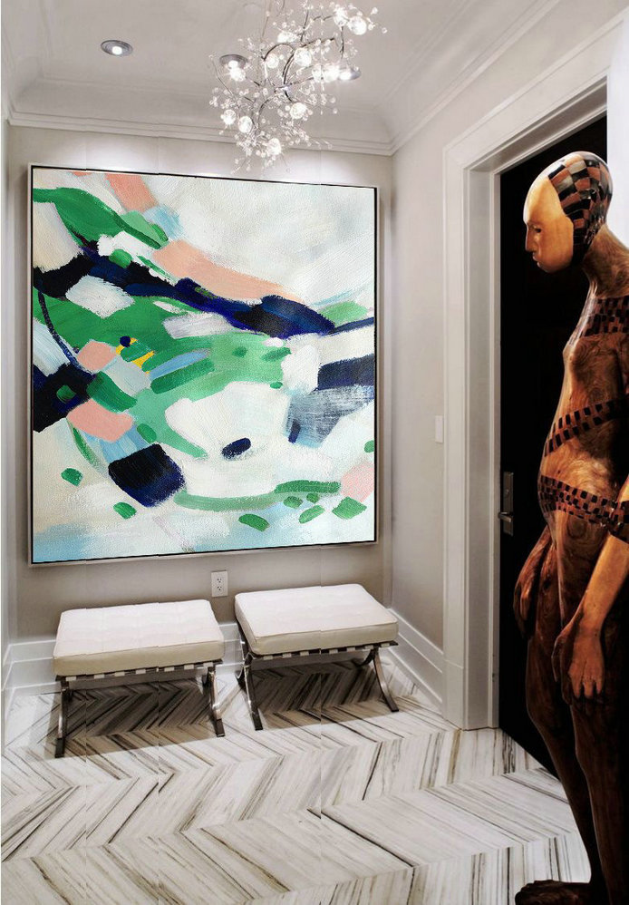 Extra Large Painting,Oversized Contemporary Art,Extra Large Artwork,White,Green,Pink.etc