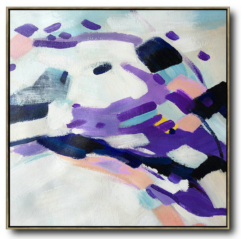 Handmade Extra Large Contemporary Painting,Oversized Contemporary Art,Large Living Room Wall Decor,White,Purple,Pink,Black.etc