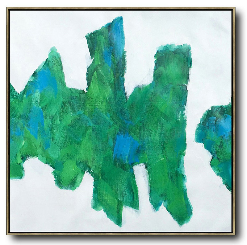 Hand Painted Extra Large Abstract Painting,Oversized Contemporary Art,Big Art Canvas,White,Blue,Green.etc