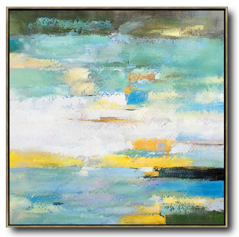 Original Painting Hand Made Large Abstract Art,Oversized Contemporary Art,Acrylic Painting Canvas Art,White,Green,Yellow.etc
