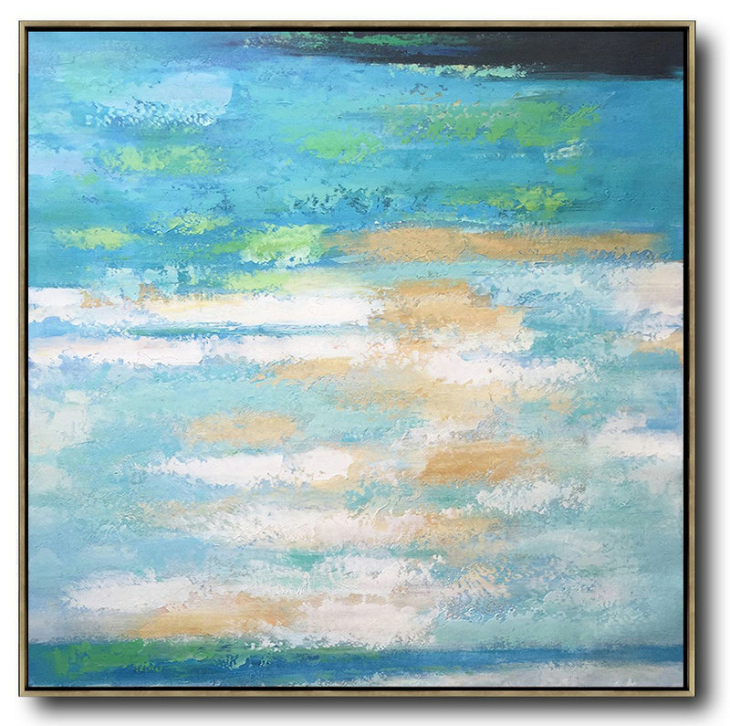 Extra Large Acrylic Painting On Canvas,Oversized Contemporary Art,Extra Large Canvas Art,Handmade Acrylic Painting,White,Blue,Green,Yellow.etc