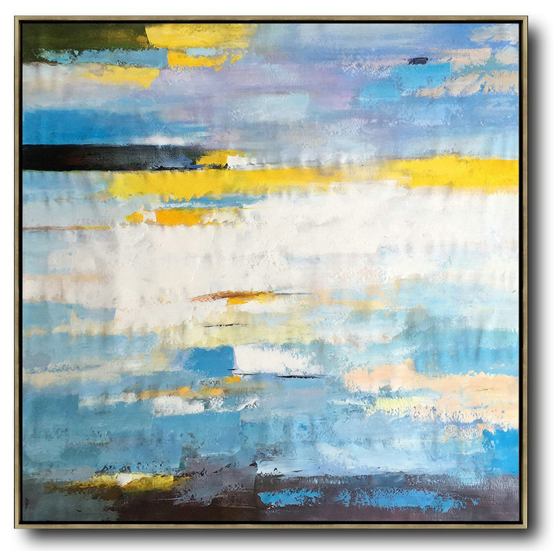 Large Abstract Painting On Canvas,Oversized Contemporary Art,Hand Painted Acrylic Painting,White,Blue,Yellow.etc