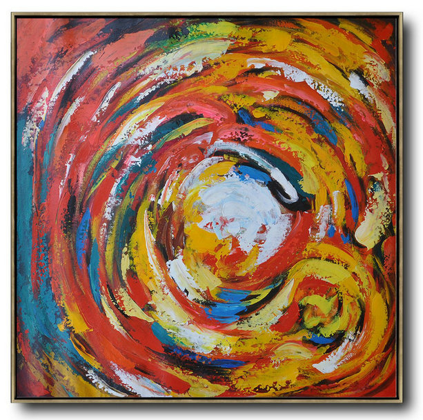 Large Contemporary Art Acrylic Painting,Oversized Contemporary Art,Extra Large Paintings,Red,White,Yellow,Blue.etc
