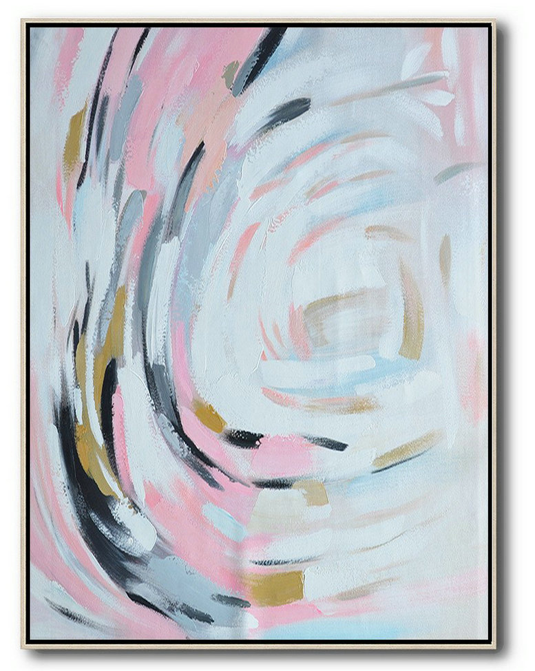 Large Contemporary Art Acrylic Painting,Oversized Square Palette Knife Abstract Floral Painting On Canvas,Abstract Art On Canvas, Modern Art,Pink,White,Grey,Black.etc