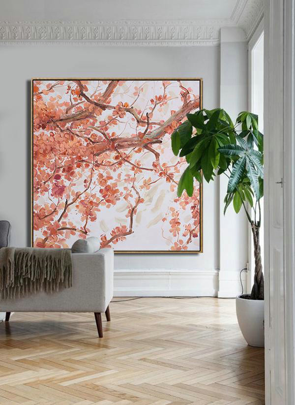 Abstract Painting Extra Large Canvas Art,Abstract Flower Oil Painting,Modern Art Abstract Painting,Red,White,Gray.etc