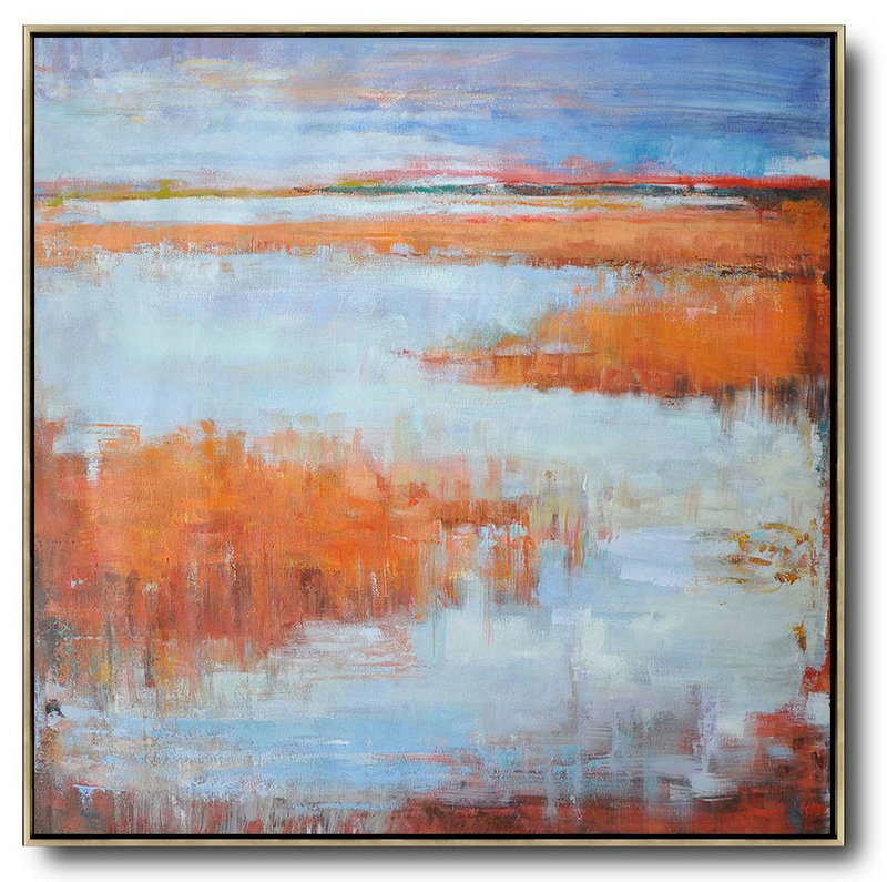 Large Abstract Painting,Oversized Abstract Landscape Oil Painting,Modern Wall Decor,Orange,Blue,Gray.etc