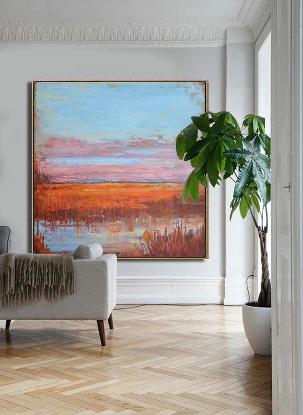 Large Abstract Art,Oversized Abstract Landscape Oil Painting,Contemporary Wall Art,Blue,Pink,Red.etc
