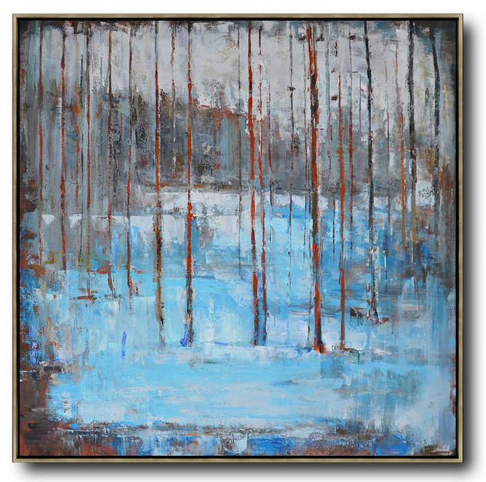 Large Abstract Art Handmade Oil Painting Oversized Abstract Landscape Oil Painting Extra Large Canvas Painting Blue