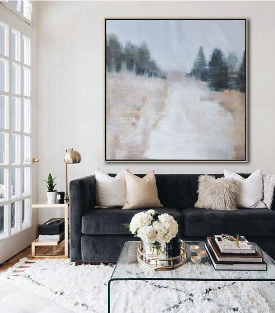 Original Extra Large Wall Art,Oversized Abstract Landscape Oil Painting,Abstract Painting Modern Art,Gray,White,Nude.etc