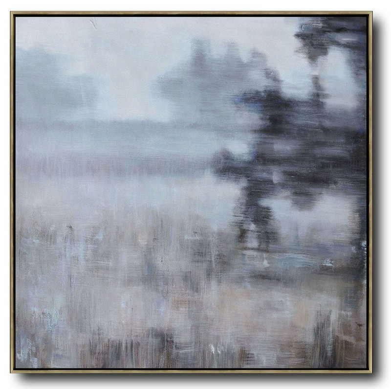 Original Abstract Painting Extra Large Canvas Art,Oversized Abstract Landscape Oil Painting,Canvas Artwork For Sale,Gray,Green,Black.etc