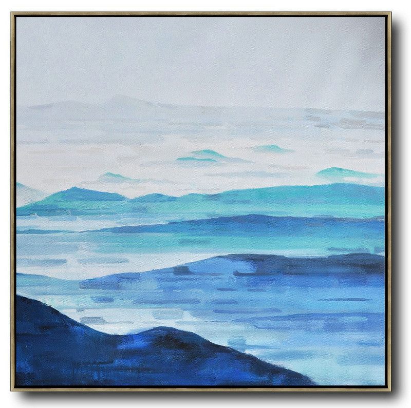 Handmade Large Contemporary Art,Oversized Abstract Landscape Oil Painting,Large Canvas Art,Blue,Gray,White.etc