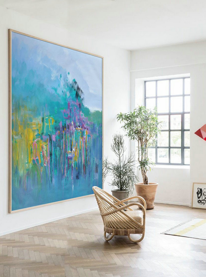 Handmade Painting Large Abstract Art,Oversized Abstract Landscape Oil Painting,Handmade Acrylic Painting,Blue,Green,Yellow,Purple.etc
