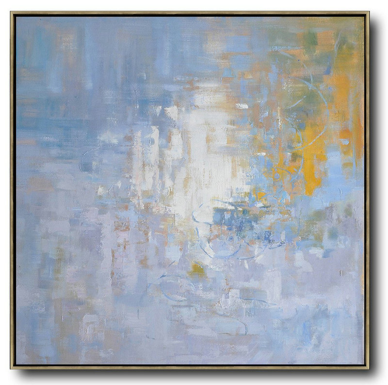 Extra Large Textured Painting On Canvas,Oversized Abstract Landscape Oil Painting,Original Abstract Painting Canvas Art,Blue,Yellow,White.etc