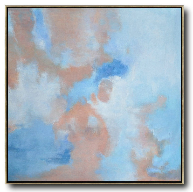 Large Modern Abstract Painting,Oversized Abstract Landscape Oil Painting,Acrylic Minimailist Painting,Blue,Pink,White.etc