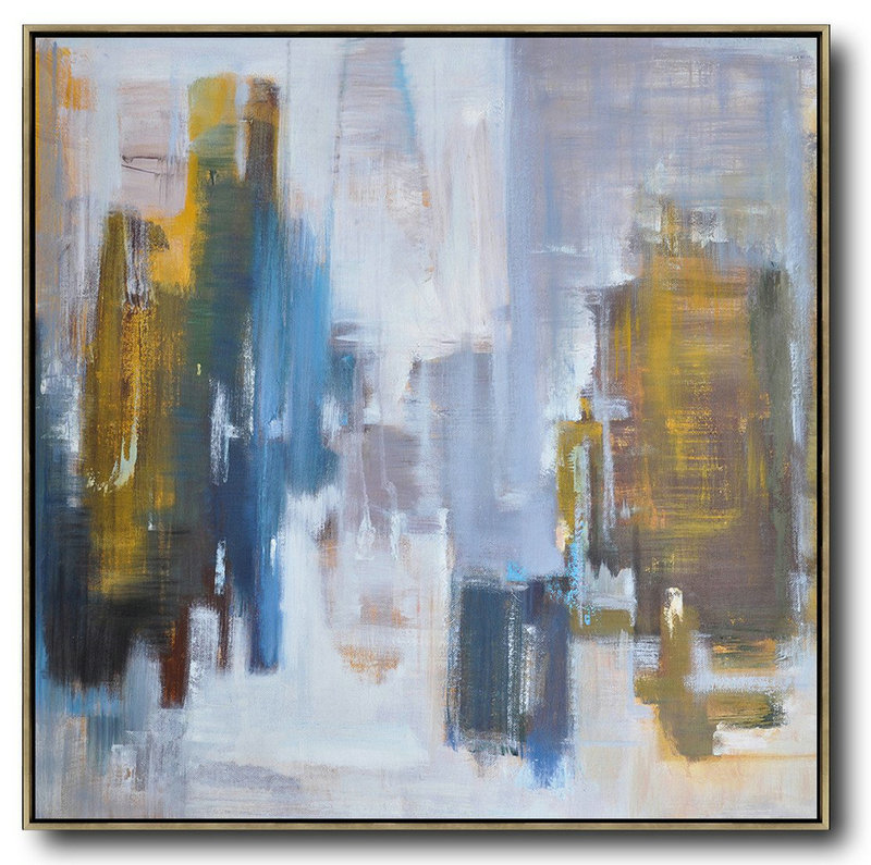 Oversized Canvas Art On Canvas,Oversized Abstract Landscape Oil Painting,Extra Large Wall Art,Yellow,White,Blue.etc
