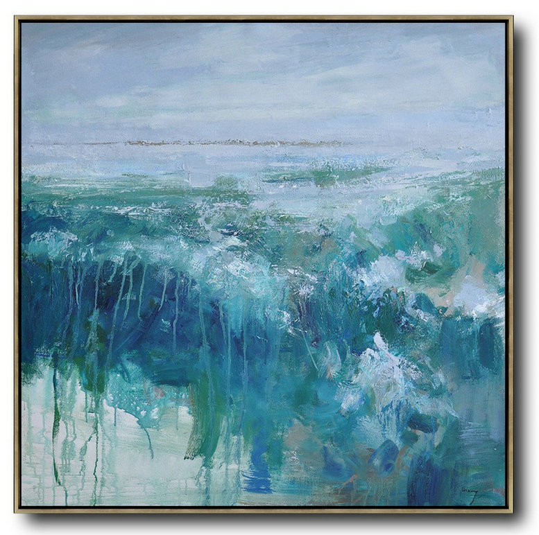 Huge Abstract Painting On Canvas,Oversized Abstract Landscape Oil Painting,Hand Paint Large Art,Blue,Green,Gray.etc