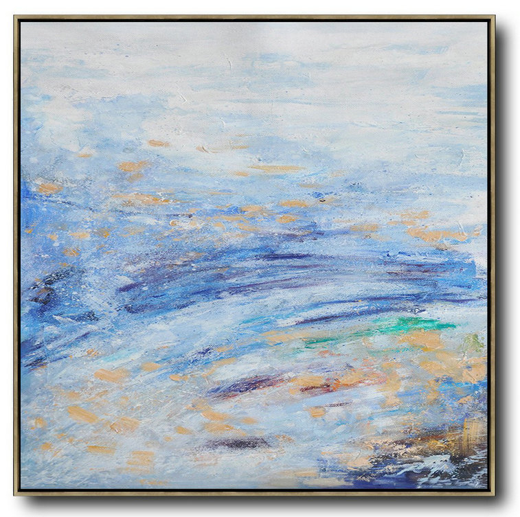 Large Abstract Painting,Oversized Abstract Landscape Oil Painting,Hand Painted Aclylic Painting On Canvas,Blue,White,Blue.etc