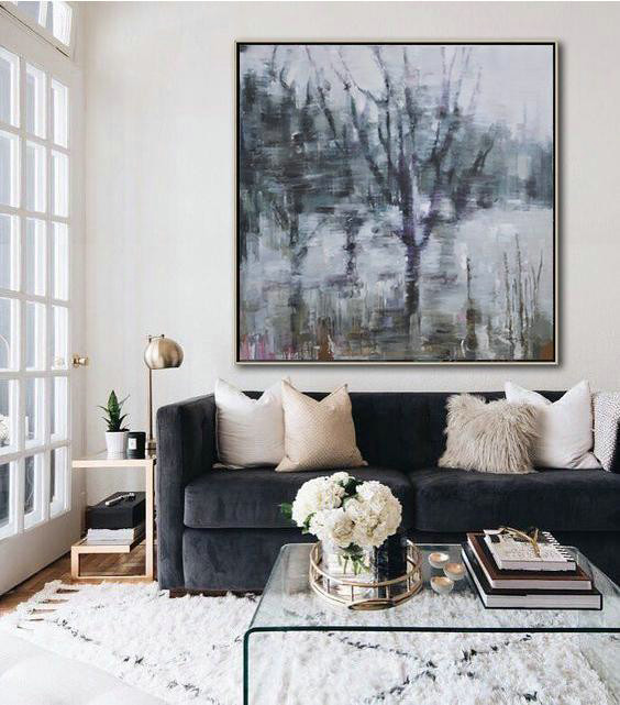 "Extra Large 72"" Acrylic Painting,Oversized Abstract Landscape Oil Painting,Large Abstract Wall Art,White,Black,Gray.etc"