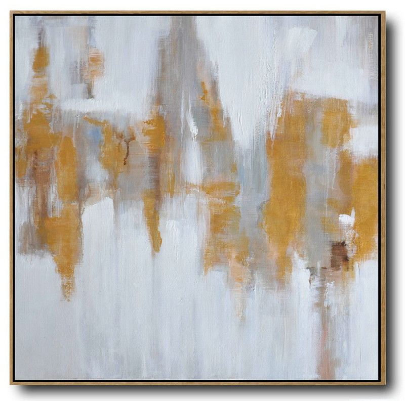 Extra Large Acrylic Painting On Canvas,Large Abstract Landscape Oil Painting On Canvas,Hand Painted Original Art,White,Gray,Yellow.etc