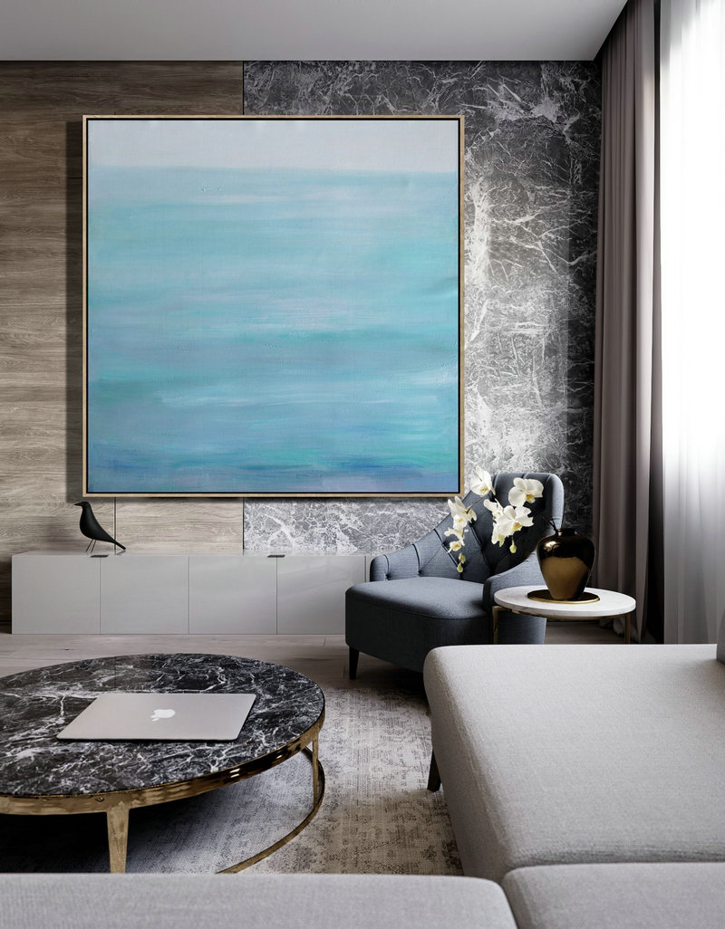 Handmade Large Painting,Large Abstract Landscape Oil Painting On Canvas,Hand Made Original Art,Green,Blue,Gray.etc