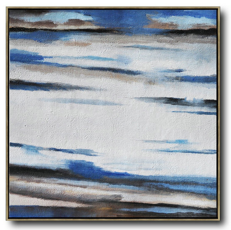 Large Abstract Painting On Canvas,Oversized Abstract Landscape Painting,Contemporary Art Canvas Painting,White,Blue,Brown.etc
