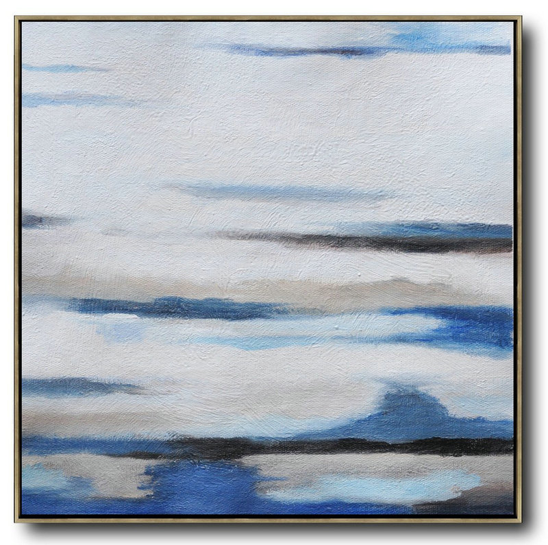 Original Extra Large Wall Art,Oversized Abstract Landscape Painting,Original Art Acrylic Painting,White,Gray,Blue.etc