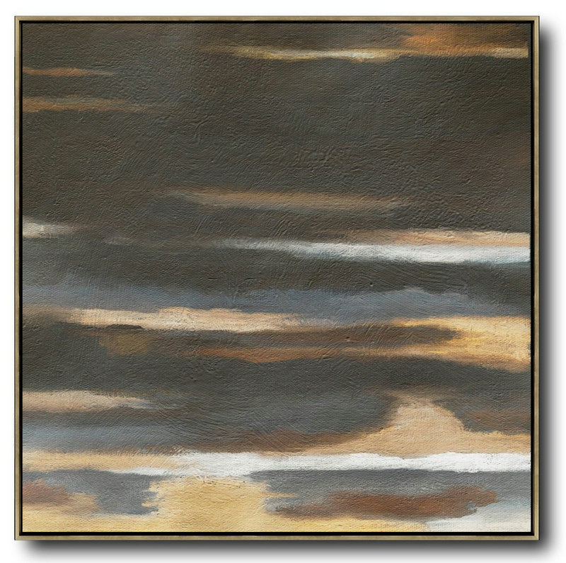 Extra Large Painting,Oversized Abstract Landscape Painting,Oversized Canvas Art,Black,Brown,Yellow.etc
