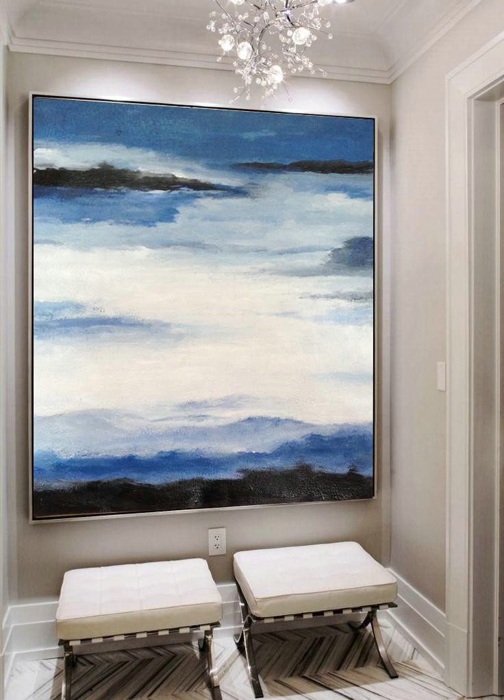 Handmade Large Contemporary Art,Oversized Abstract Landscape Painting,Modern Wall Art,Black,Blue,White.etc