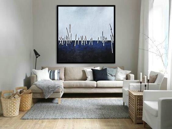Large Contemporary Art Acrylic Painting,Oversized Abstract Landscape Painting,Artwork For Sale,White,Dark Blue,Black.etc - Click Image to Close