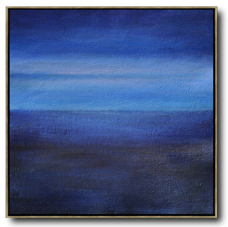 Abstract Painting Extra Large Canvas Art,Oversized Abstract Landscape Painting,Canvas Wall Art,Dark Blue,Sky Blue,Black.etc
