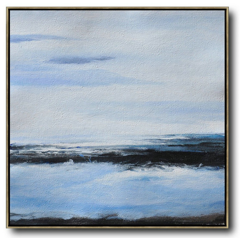 Extra Large Canvas Art,Oversized Abstract Landscape Painting,Art Work,White,Blue,Black.etc