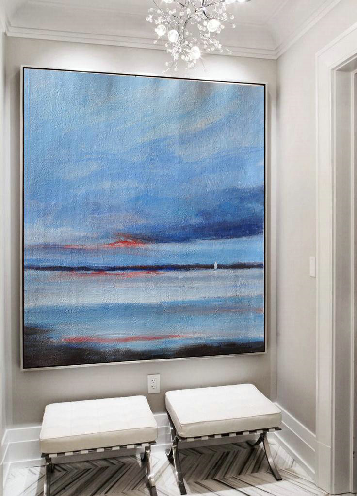Extra Large Abstract Painting On Canvas,Oversized Abstract Landscape Painting,Modern Art,Sky Blue,White,Black.etc - Click Image to Close