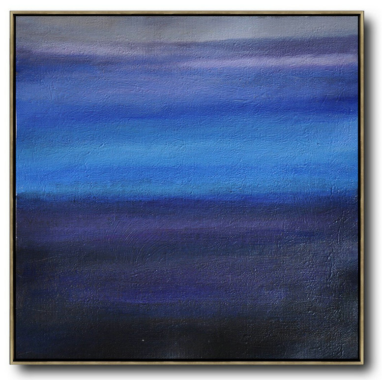 Handmade Large Contemporary Art,Oversized Abstract Landscape Painting,Acrylic Painting On Canvas,Gray,Blue,Black.etc