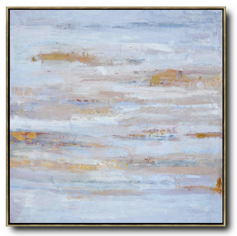"Extra Large 72"" Acrylic Painting,Oversized Contemporary Oil Painting,Acrylic Painting On Canvas,Sky Blue,Gray,White.etc"