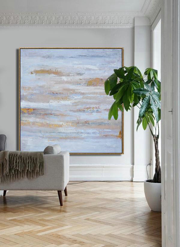 "Extra Large 72"" Acrylic Painting,Oversized Contemporary Oil Painting,Acrylic Painting On Canvas,Sky Blue,Gray,White.etc - Click Image to Close"