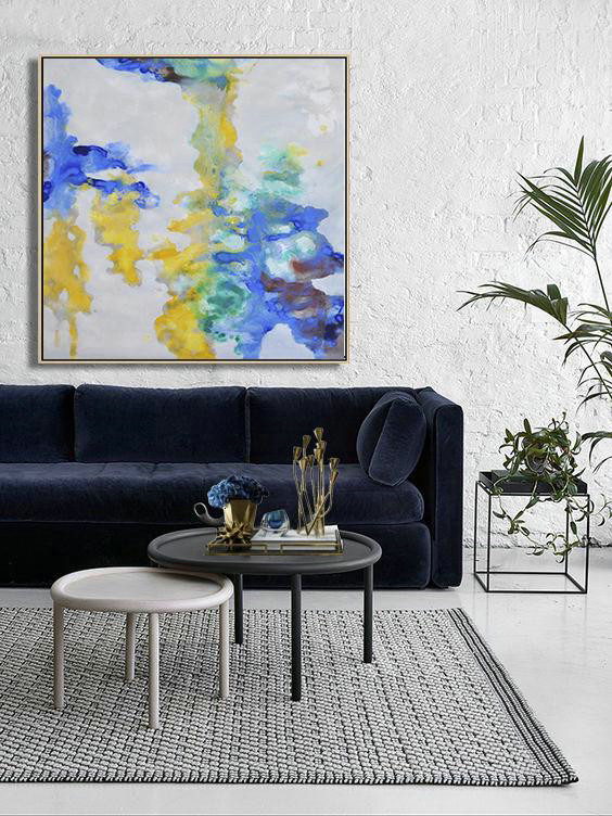 Large Abstract Art Handmade Painting,Oversized Contemporary Oil Painting,Huge Abstract Canvas Art,Gray,Yellow,Green,Blue.etc