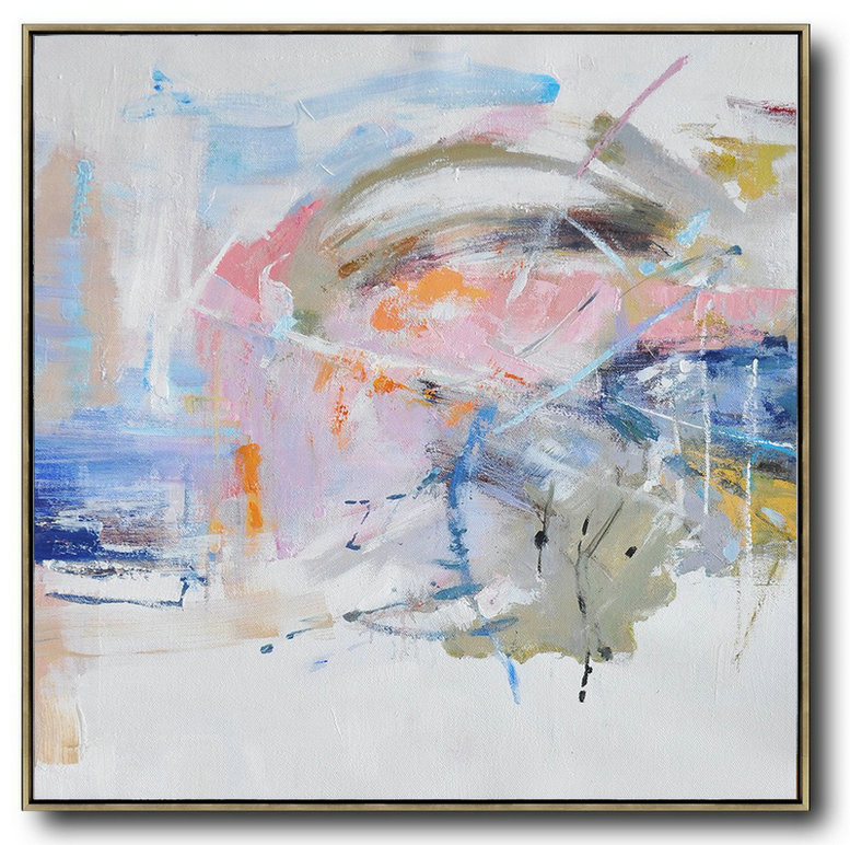 Large Contemporary Art Acrylic Painting,Oversized Abstract Oil Painting,Hand Paint Abstract Painting,White,Pink,Blue,Gray.etc