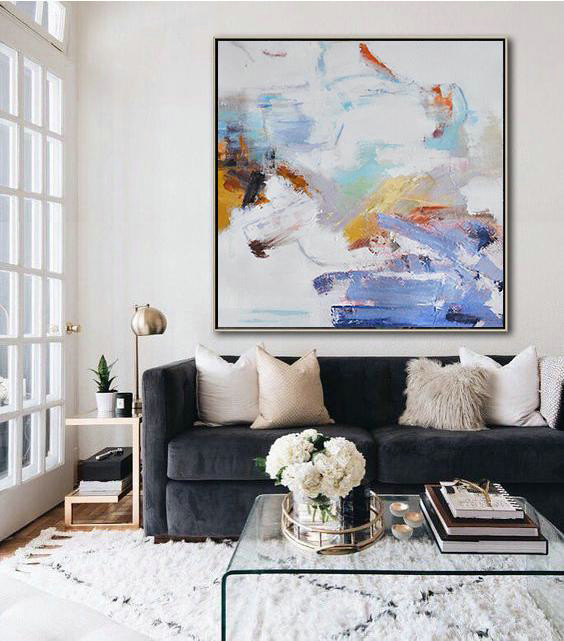 Hand Painted Extra Large Abstract Painting,Oversized Abstract Oil Painting,Large Contemporary Art Canvas Painting,White,Blue,Gray,Yellow.etc