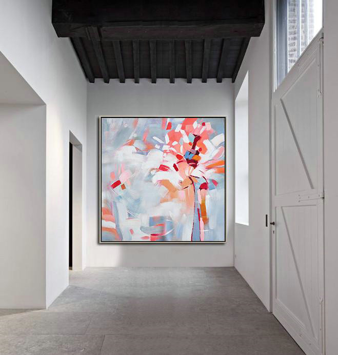 Original Artwork Extra Large Abstract Painting,Oversized Abstract Flower Painting,Large Abstract Wall Art,Pink,White,Gray.etc