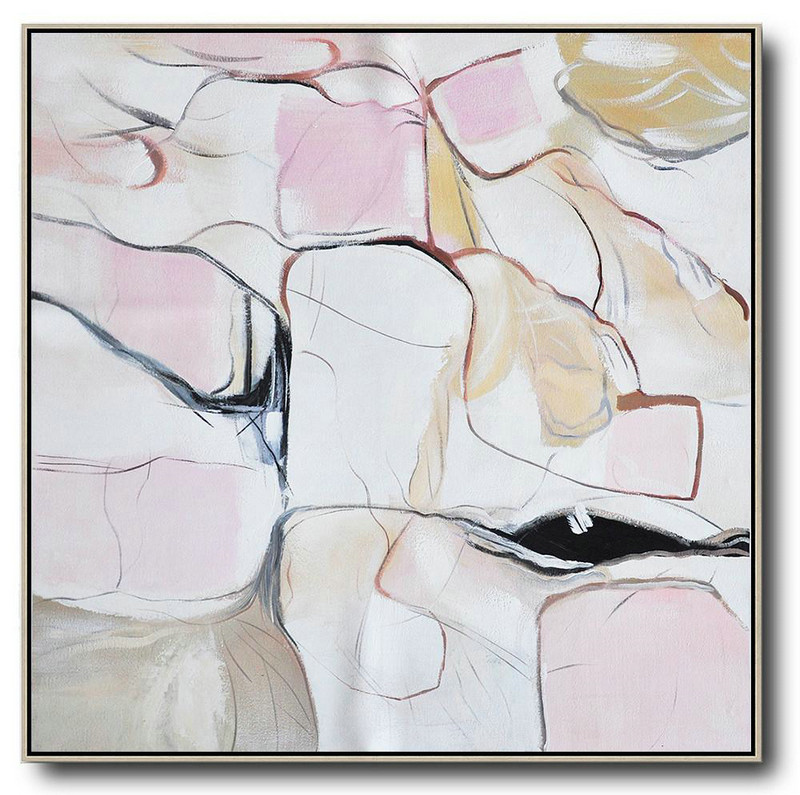 Extra Large Acrylic Painting On Canvas,Oversized Abstract Painting,Modern Canvas Art,White,Pink,Yellow,Gray.etc
