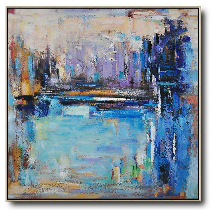 Handmade Large Painting,Oversized Abstract Landscape Painting,Acrylic Painting On Canvas,Purple,Blue,Yellow.etc