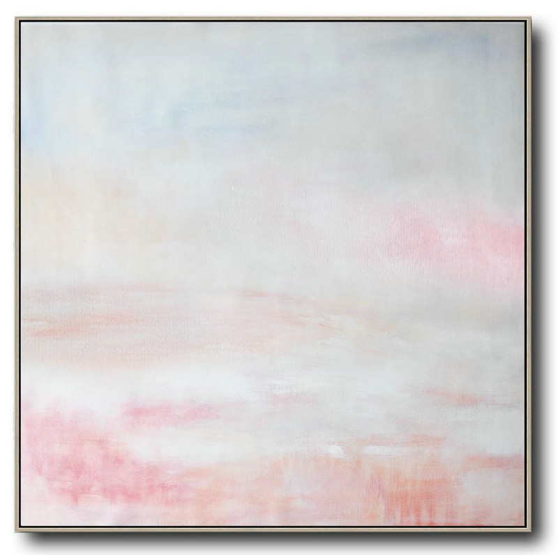 Huge Abstract Painting On Canvas,Oversized Abstract Painting,Oversized Custom Canvas Art,White,Gray,Pink.etc