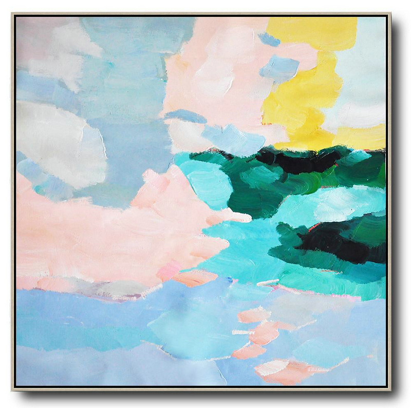 Oversized Canvas Art On Canvas,Oversized Abstract Art,Unique Canvas Art,Blue,Green,Pink,Yellow.etc
